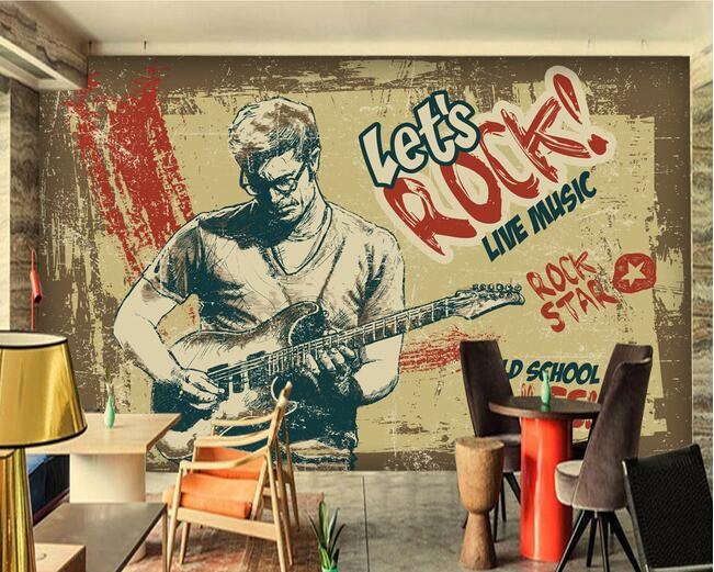 3d wallpaper custom mural non woven 3d room wallpaper for Retro house music