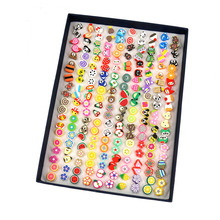 ISINYEE 100 Pairs/set Fashion Cute Small Flower Stud Earrings Set For Kids Little Girls Women Insect Animal Trendy Jewelry