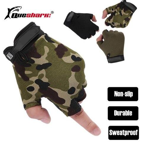 tactical meio dedo luvas de pesca anti slip touch screen caca camping ciclismo camuflagem esporte ao