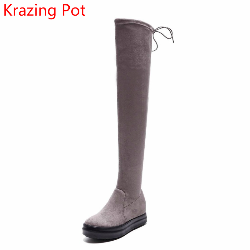 New Arrival Stretch Boots Bowtie Winter Keep Warm Platform Med Heels Thigh High Boots Runway Fashion Over-the-knee Boots L3f1 superstar flock stretch boots runway fashion winter shoes med heel thigh high boots lace up bowtie women over the knee boots l15