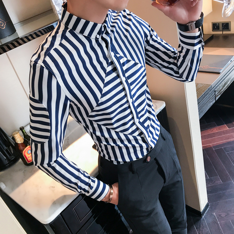 Minglu Mens Stripe Shirts Black White Social Club Camisa Masculina Slim Fit  Red Chemise Homme Manche Longue Casual Men Shirts-in Casual Shirts from  Men s ... 12644e1aeb9