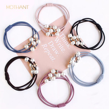 Korean version of the rope nine beads tie head pearl hair ring high elastic rubber band womens new