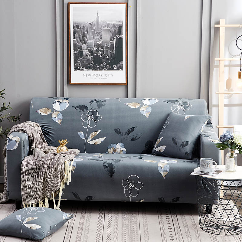 1pc Leaf and Flower Printed Sofa Cover Made of Polyester and Spandex Fabric for L Shaped and Corner Sofa 9