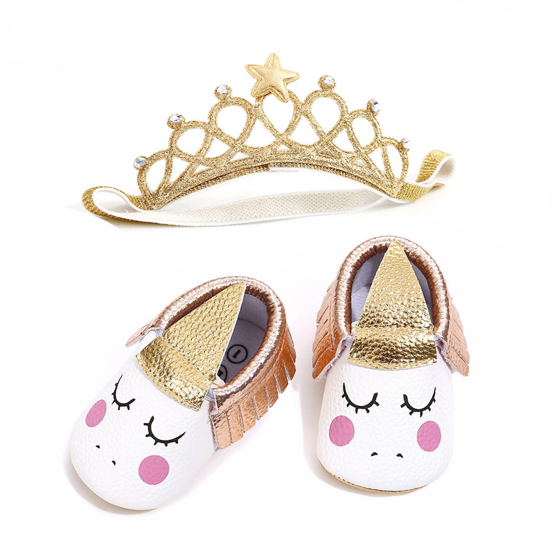 Lovely New Newborn Toddler Baby Girl Soft Crib Shoes Infant Anti-slip Sneaker Prewalker Unicorn Shoes Cown Headband 2pcs