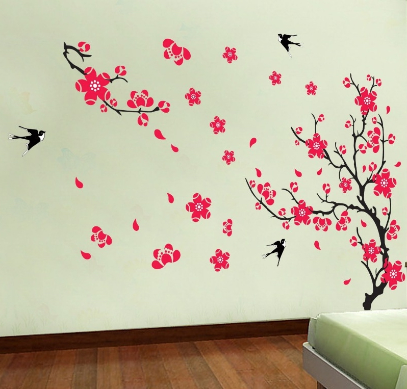 Aliexpress.com : Buy 2017 New Red Cherry Plum Flower Tree Wall Stickers  Decals Spring Blossom Branches Wallpaper Home Bedroom Living Room Decor  From ... Part 55