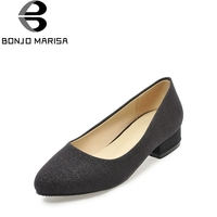 BONJOMARISA Office Ladies Chunky Heels Slip On Office Shoes Woman Leisure Dress Pumps Big Size 32