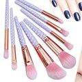 8 UNIDS Profesional Maquillaje Pinceles Set Fundación Polvo Colorete En Polvo Pincel Delineador de ojos Pincel de Maquillaje Mango En Forma de Panal