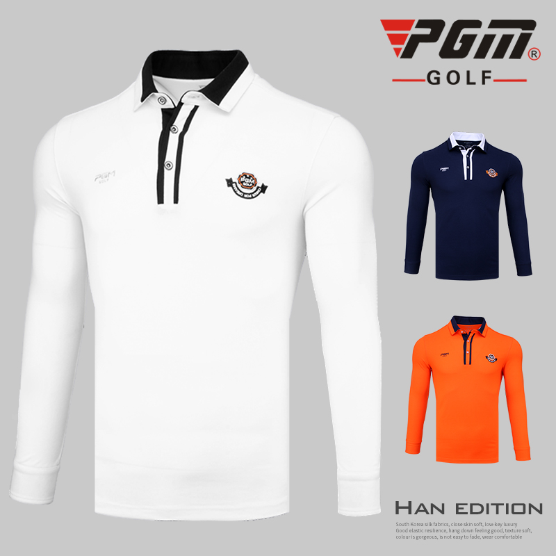 PGM autumn and winter golf apparel men long-sleeved T shirt windproof warm golf clothing men breathable comfortable Golf Shirts