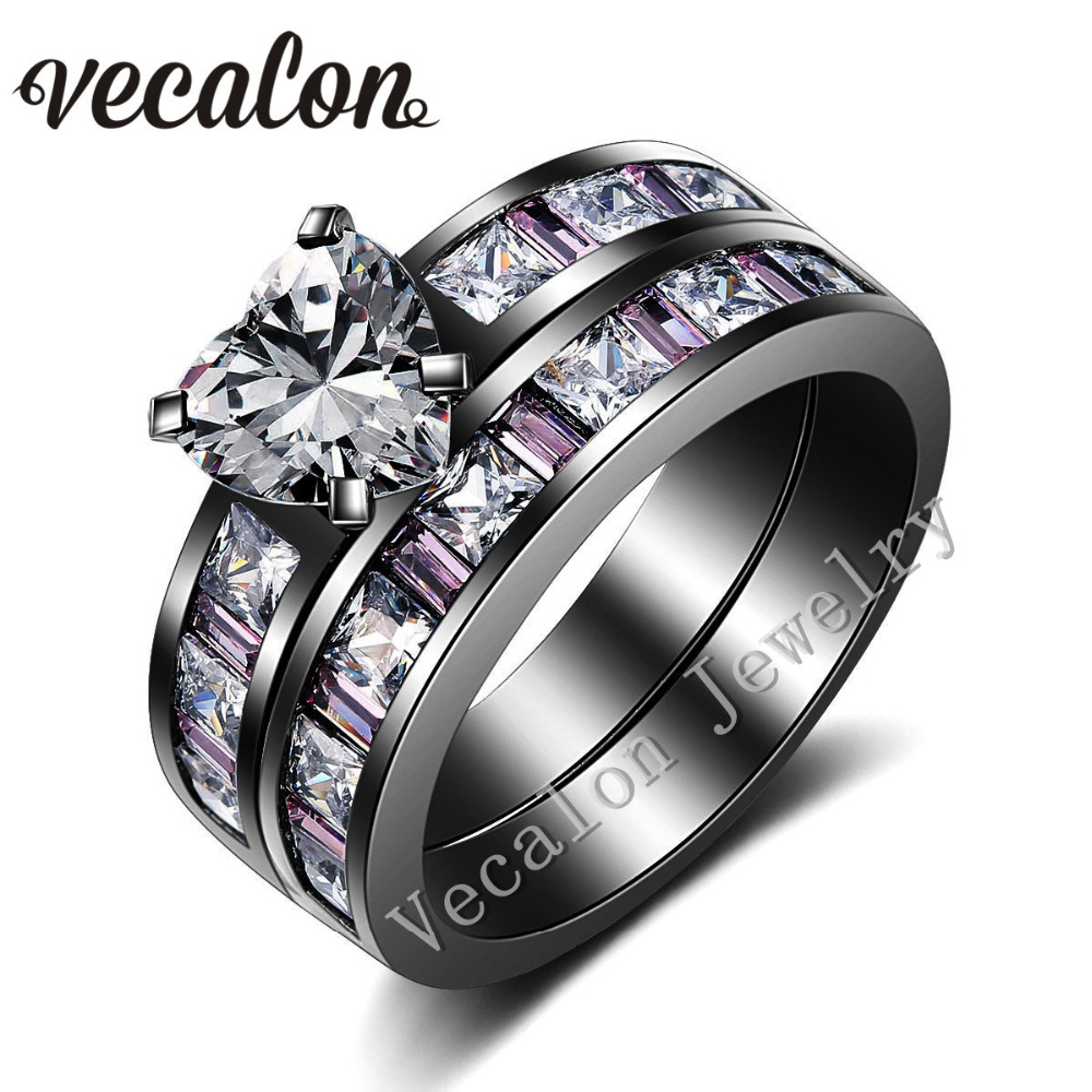 Vecalon Heart Style Women Engagement Wedding Band Ring Set Pink Stone Aaaaa  Zircon Cz 10kt Black