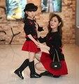 2016 nueva moda ropa familiar establece juego de madre e hija ropa de la princesa madre e hija vestido de suéter de lana + vestido sólido