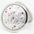 Lindo Aleación de Plata Artesanal Espejo Doble Espejo de Maquillaje Compacto Espejo de La Vendimia de Regalo de Navidad para Los Amigos 10 unids/lote HZ023