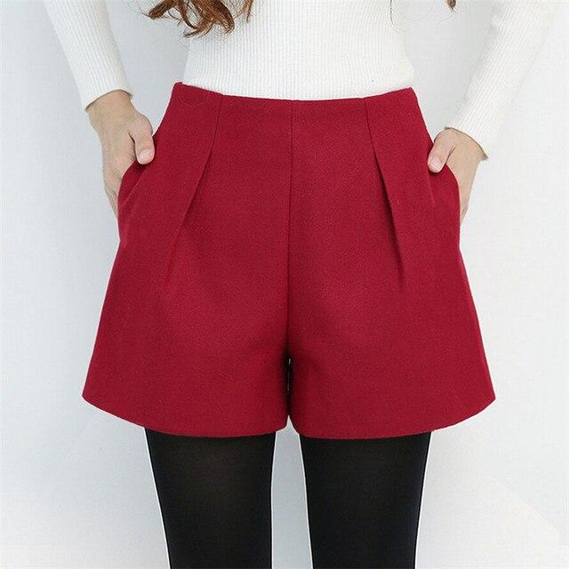 Las mujeres de Lana Corta de Cintura Alta Moda Casual Pantalones Cortos de Color Caramelo Botas de Invierno Estilo Harajuku Suelta Cortocircuitos Más El Tamaño DK6155