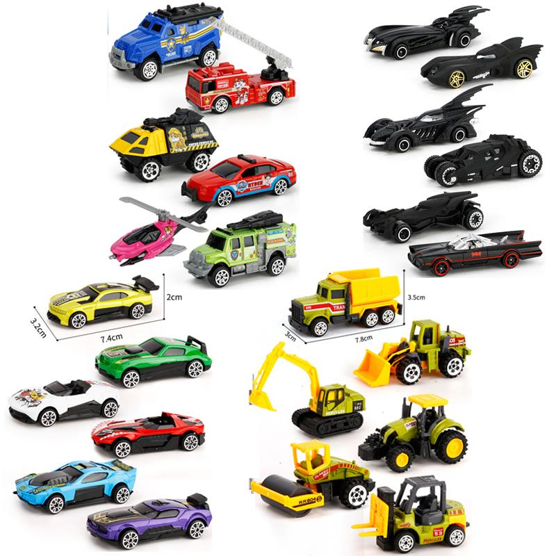 6Pcs Dropping Diecast Metal Cars Model Toys Tractor Police Car 1:64 Batman Mini Chariot Aolly car Construction Vehicle Toys Set василий п аксенов шестьсот метров по прямой
