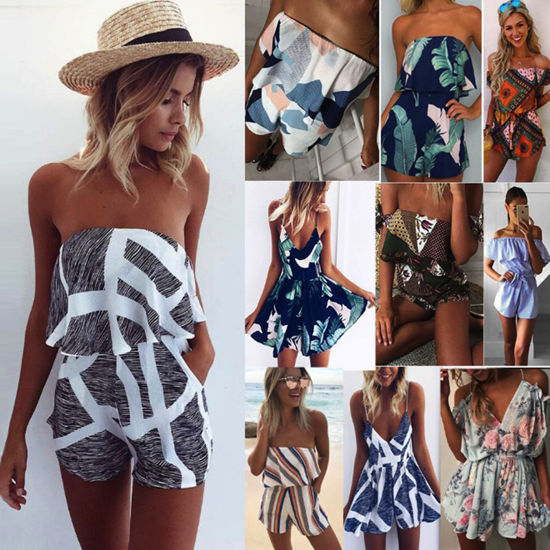 Summer Vacation 2018 Spaghetti Strap High Waist Tropical Palm printed Shirred Cami Palazzo Women playsuits beach wear loose fit