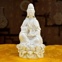 Town House Feng Shui Dai Yutang ceramic ornaments home accessories/8 inch white jade sitting ancient Lotus Kwan-Yin D03-002