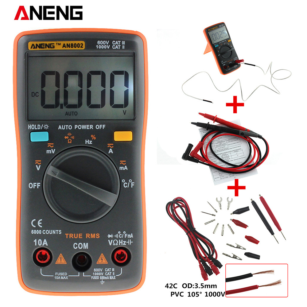 ANENG AN8002 Digital Multimeter 6000 counts Backlight AC/DC Ammeter Voltmeter Ohm Portable Meter orange 002 excel dt9205a 3 lcd digital multimeter black orange 1 x 6f22