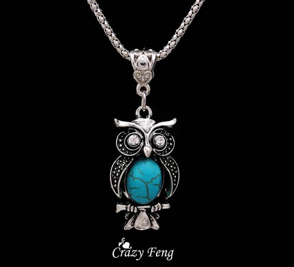 Новый Дизайн Ювелирные Наборы Тибетский Серебряный ретро камень кулон ожерелье сова висячие серьги набор ювелирных изделий для женщин Бесплатная доставка
