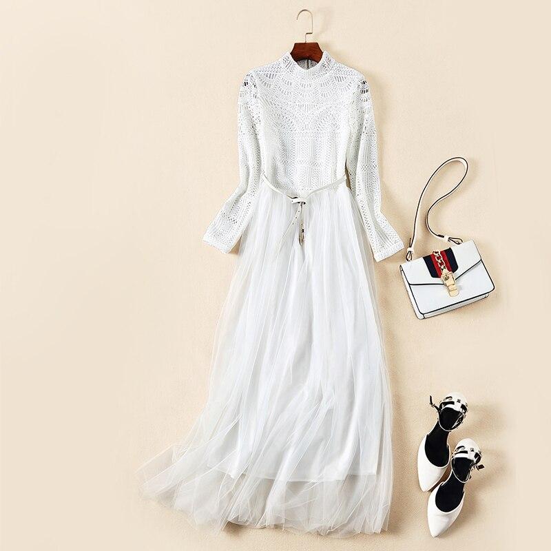 Nouveau femmes européennes et américaines haut de gamme boutique à manches longues évider épissage gaze élégante robe