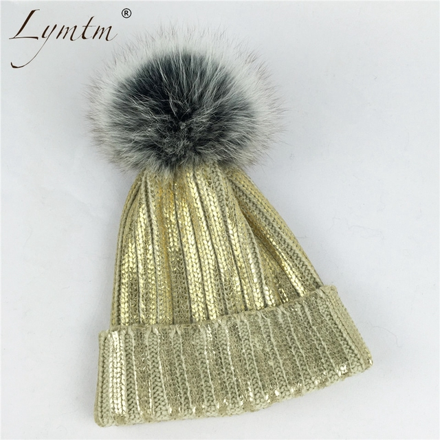 363e4bcfabf030 Winter Warm Womens Girls Knitted Fur Pompom Beanie Hat Real Large Fox Fur  Pompon Knit Hats Bronzing Gold Silver Black Beanies