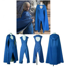 2018 Game of Thrones Daenerys Targaryen Blue Set Cosplay Costumes Women Halloween Party Sexy Dress Free Shipping Christmas Gifts game of thrones melisandre red dress cloak cosplay costumes women dresses cape scarf party halloween christmas red women uniform