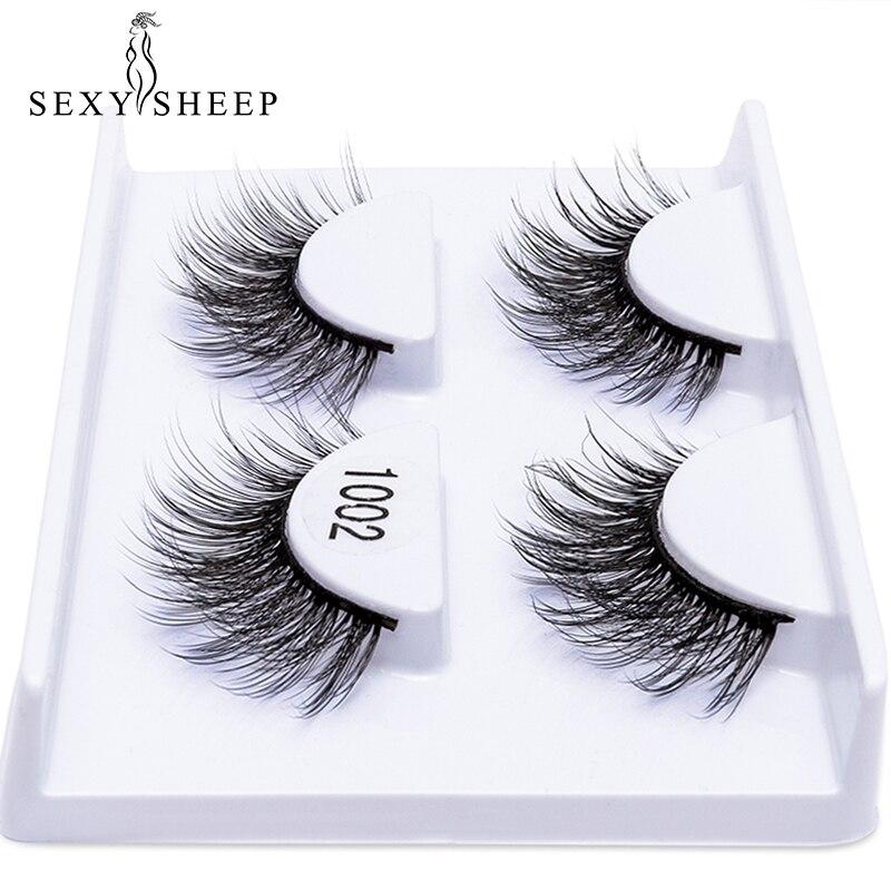 2 Pairs Natural False Eyelashes Thick Makeup Real 3d Mink Lashes Soft Eyelash Extension Fake Eye Lashes Long Mink Eyelashes 3d