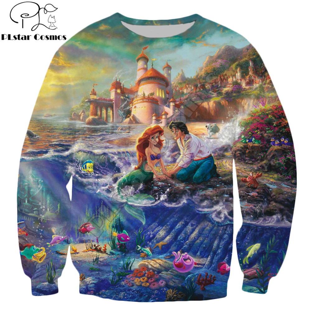PLstar Cosmos Brand Clothing The Little Mermaid And Tramp HD Painting 3d Printed Unisex Streetwear Casual Sweatshirt/Pullover