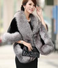 2017 new mink fur shawl dress shawl cloak imitation fox fur grass female waistcoat