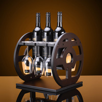 Creative 30x30x32cm Antique Curio Shelf Wood Wheel Wine Rack Furniture Vintage Decorative Champagne Stemware Bottle Glass