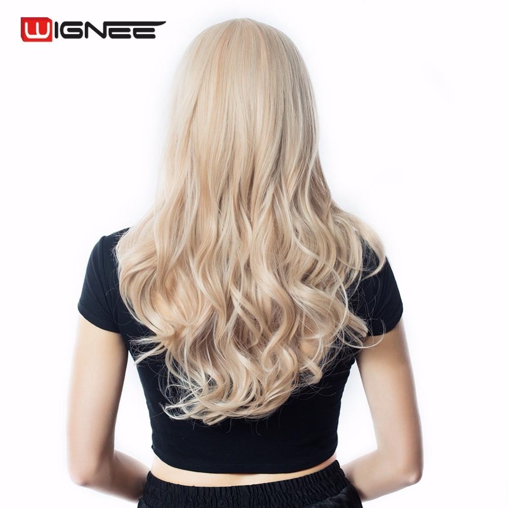 Image 3 - Wignee, смешанный пепельный блондин, средняя часть, длинный волнистый парик, высокая температура, натуральные волосы, волна, синтетический парик, без клея, косплей, искусственные волосы-in Синтетические парики для косплея from Пряди и парики для волос on AliExpress