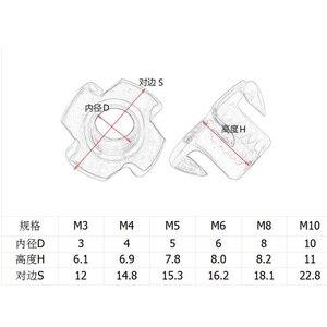 Image 2 - 20 sztuk/partia M3 M4 M5 M6 M8 M10 M12 ocynkowana cztery pazury nakrętki głośnik nakrętka nakrętka w kształcie litery T niewidomych płaszczyznach Tee nakrętki meble sprzętu narzędzie