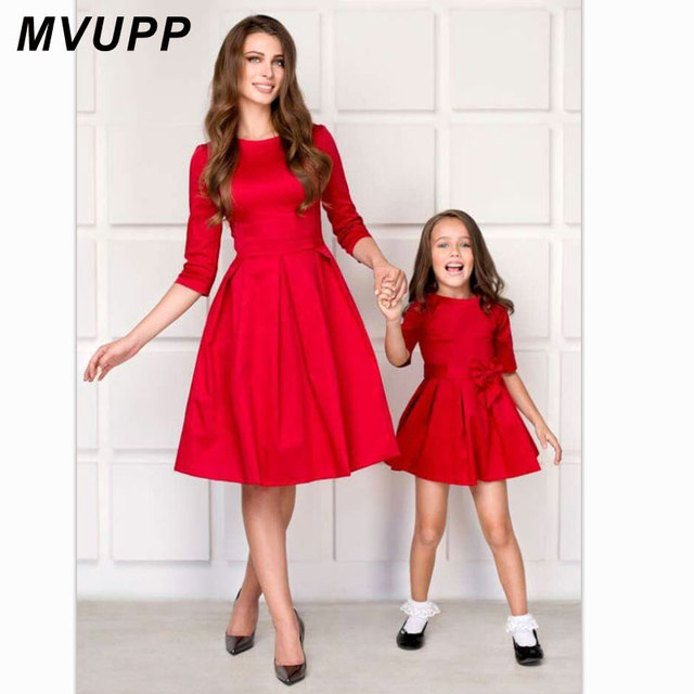 ceb3dfca71 MVUPP mom and daughter matching clothes bows half sleeve mother baby  dresses mommy me outfits for