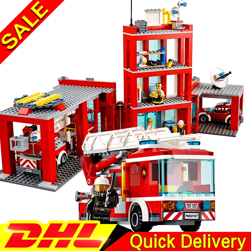 Lepin 02052 The Fire Station + Lepin 02054 The Fire Ladder Truck Building Blocks Bricks Toys Gift Clone 60110 60107 jie star fire ladder truck 3 kinds deformations city fire series building block toys for children diy assembled block toy 22024