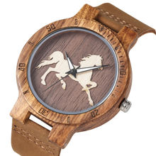 YISUYA Wood Watch Quartz Analog Horse Pattern Dial  Unique Three-dimensional Wooden Watches Brown Genuine Leather Band crrju