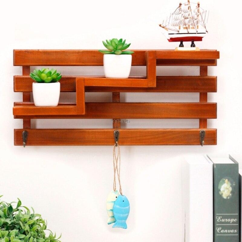 Handmade Wood Boxes Cargo Organizer Storage Box Simple Small Key Hanging Storage Case Hook Type Wood Shelf Wood Rack Mar