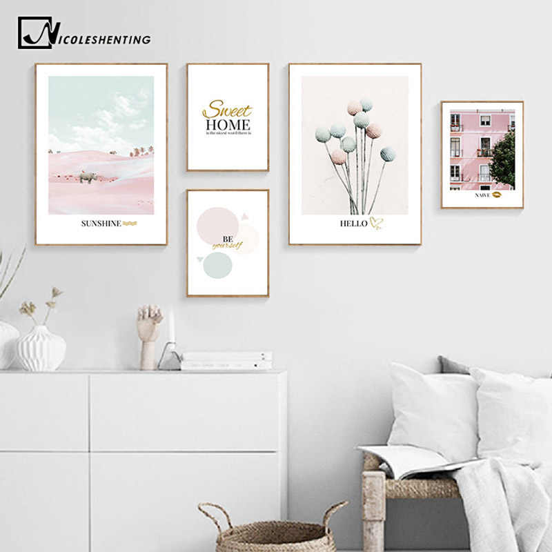 Pink ins Style Picture Fashion Poster Nordic Rhinoceros Architecture Print Scandinavian Wall Art Canvas Painting Home Room Decor