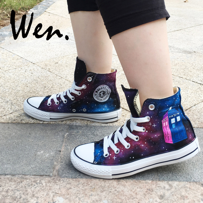 Wen Hand Painted Shoes Design Custom Doctor Who Wine Red Galaxy Tardis High  Top Women Platform 0c42a25ce962