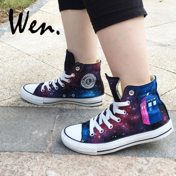 Wen Hand Painted Shoes Design Custom Doctor Who Wine Red Galaxy Tardis High Top Women Platform Sneakers Men Lace up Plimsolls