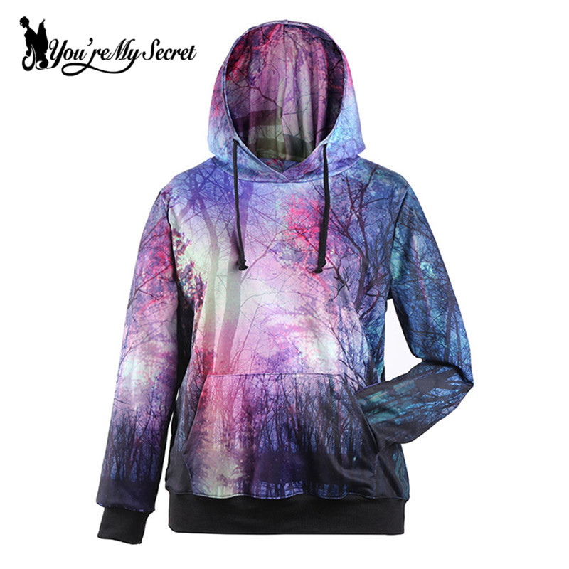 [You're My Secret] Autumn Winter Forest Digital Print Women Hooded Sweatshirt Long-Sleeve O-Neck Sudaderas Sportwear for Women