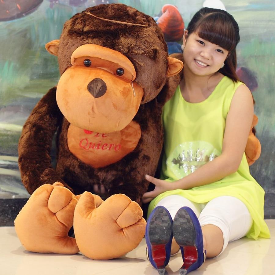 80cm Large Stuffed Orangutan Big Plush Toy Doll Cute Baby Animal Pillows Stuffed Animals Monkey Pillow Dolls Gifts 50T0289 stuffed animal 45 cm turtle plush toy big eyes tortoise doll throw pillow w3482