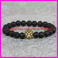 1PCS2015 New Design Men's Bracelet,Made by 8mm Black Lava Onyx Agate Stone Bead With Antique Gold,Gold Lion Head Charm Bracelets