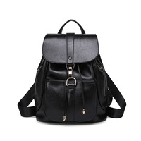 2017 Black Leather Womens Fashion Backpack Ladies Softback Mini Bag With Retractable Travel Backpacks Large Space