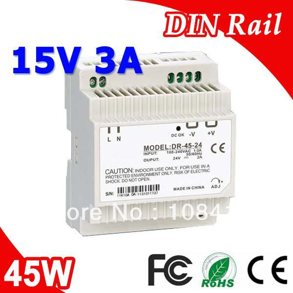 DR-45-15 LED Din Rail mounted Power Supply Transformer 110V 220V AC to DC 15V 3A 45W Output low price switching power supply led din rail mounted power supply transformer 110v 220v ac to dc 5v 12v 15v 24v 48v 45w output