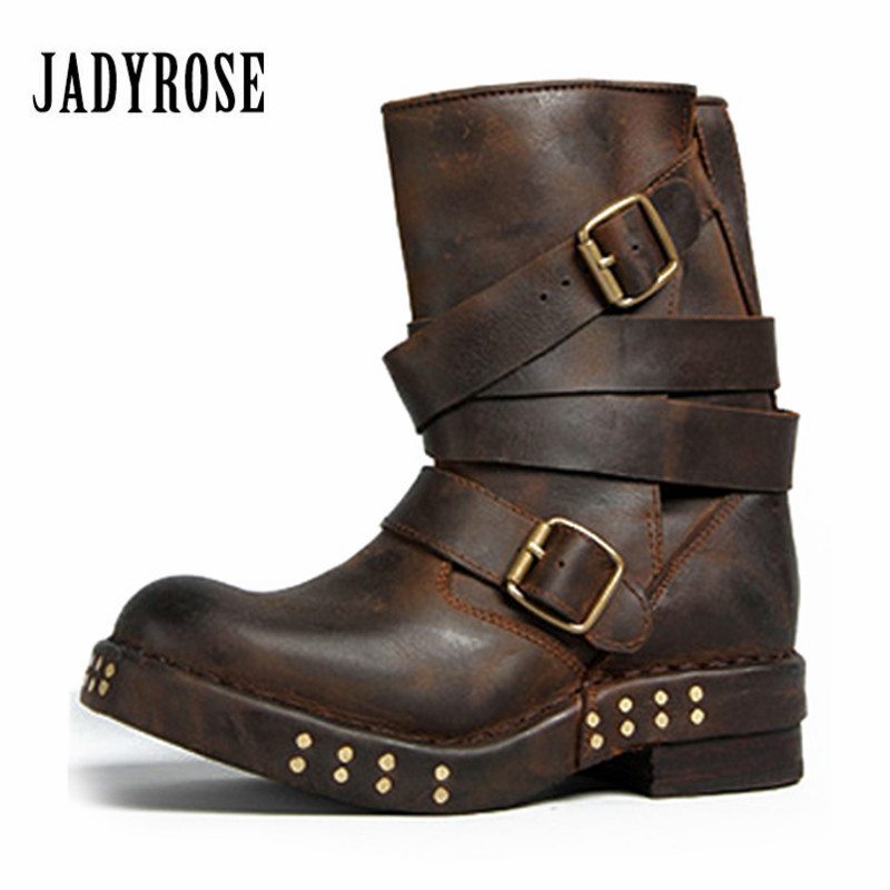 Jady Rose Punk Style Women Ankle Boots Black Brown Genuine Leather Square Toe Flat Booties Straps Design Botas Martin Boot