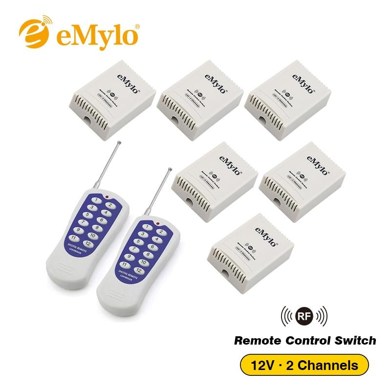 Emylo Dc 12 V De Aprendizaje Inteligente Interruptor Control Remoto Inalámbrico Interruptor De La Luz De 433 Mhz Blanco Y Azul Transmisor 6x2 Canales Relés W522