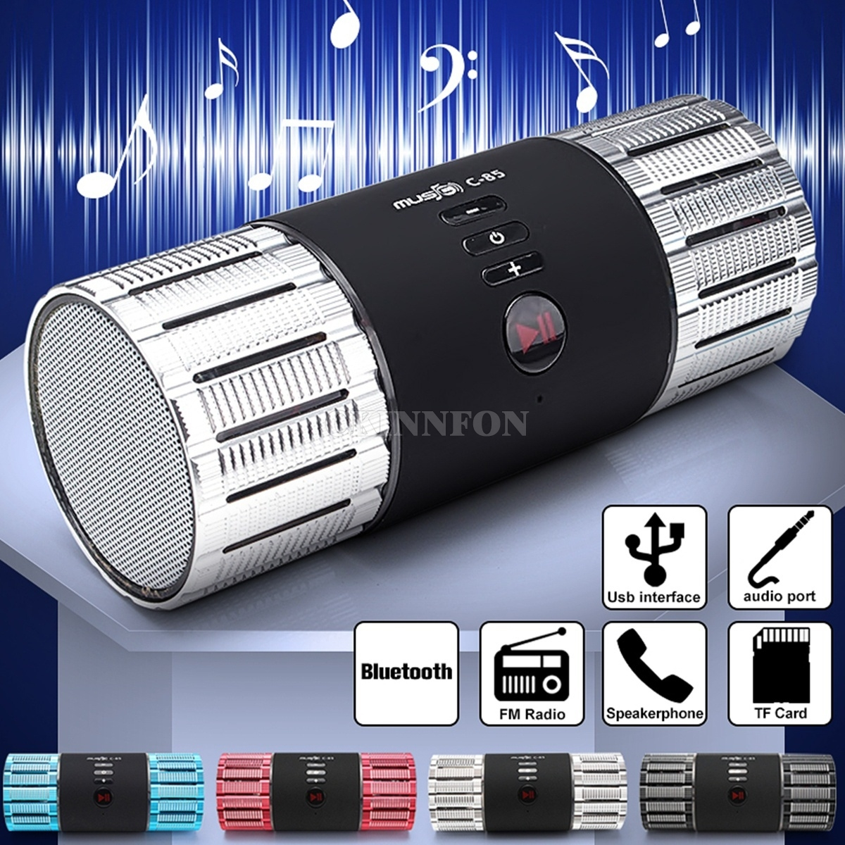 100PCS Aluminum Mini Portable Hifi Stereo Audio 3.0 Wireless Bluetooth Card Speaker TF FM LED Subwoofer MP3 Boombox Sound Box