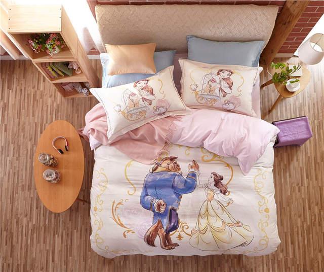 Красавица и чудовище постельные принадлежности кровать установить хлопок мультфильма одеяло пододеяльник устанавливает 3/4/5 шт. twin королева дети девушки простыня белье