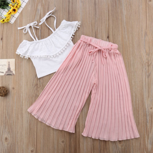 2pcs Toddler Girl Tassels Soild Color Sling Top + Pleated Pants Outfit Clothes2pcs Toddler Girl Tassels Soild Color Sling Top + Pleated Pants Outfit Clothes