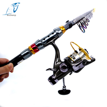 On sale 2016 New 99% Carbon Telescopic Fishing Rod with10BB Spinning reel Aluminium Alloy Reel  Pole Rod Combos Kit Set 1.8m-3.6m