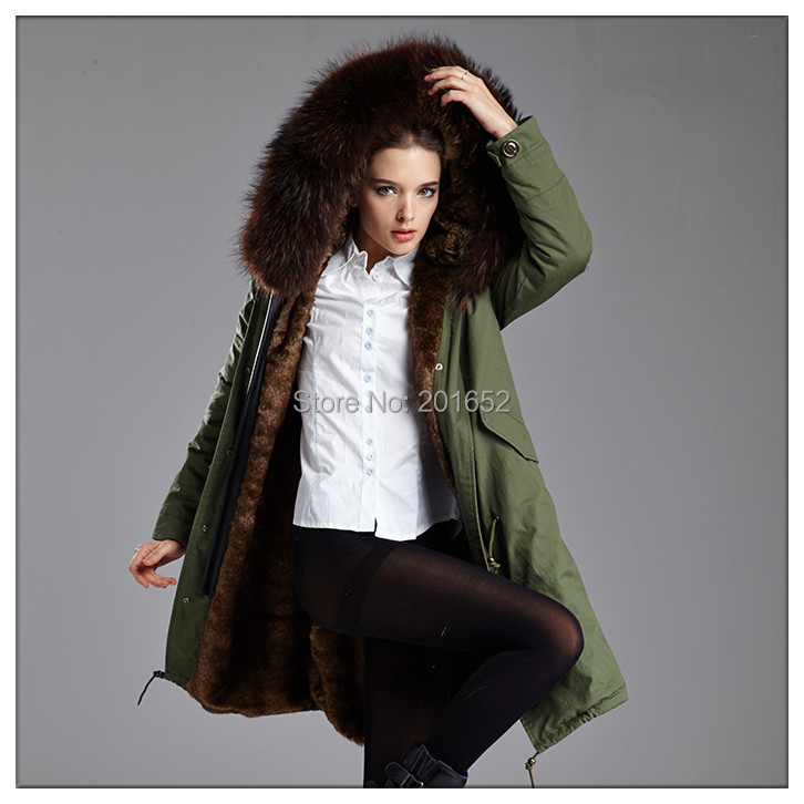 Winter coat women parkas women's raccoon large fur Full lining jacket Army Green jackets mr mrs - Harve leger store
