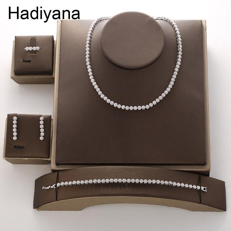 Jewelry Set HADIYANA New Fashion Temperament Simple Luxury Vintage Cubic Zirconia Round For Women TZ8084 Conjunto